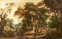groupes de personnages dans une forêt by alexander keirincx