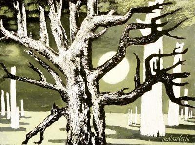 paysage aux arbres petrifies, rêve lunaire by anne carlu