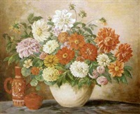 still life with dahlias, nasturtiums and zinnias in a white vase by edith c. miller