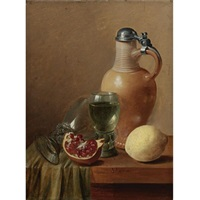 still life with a jug and pomegranate by gillis jacobz van hulsdonck