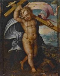 christusknabe mit kreuz und siegesfahne by agostino carracci