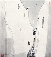 小港 石版版画 by wu guanzhong