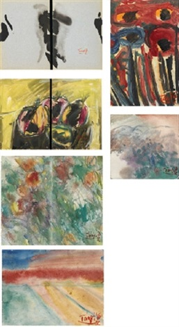 abstract landscape and still life 6 works various sizes by tang haywen