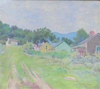 houses in mountainous landscape by ora coltman