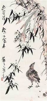 幽谷山禽 立轴 设色纸本 (bird) by li kuchan