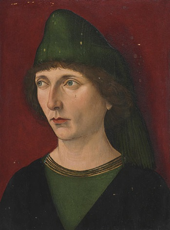 portrait of a man in a green and black shirt and green cap by french school 15