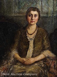portrait of a young woman seated in an interior, new orleans by helen maria turner