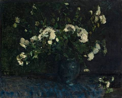 chrysanthemen in vase by lesser ury