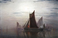 shipping in an estuary in moonlight by w.h. simpson