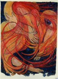 red bride with firebird falling by alice perceval