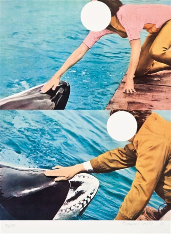 two whales with people by john baldessari