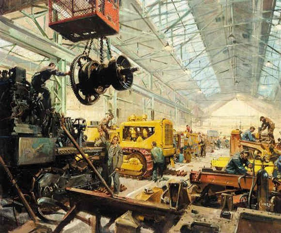 at the heavy planet repair shop by terence cuneo