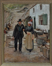 a view at staithes village, yorkshire with a fisherwoman guiding an elderly man by isa jobling