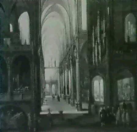 kircheninterieur mit einer gruppe von mannern von einem weltgerichtsaltar rechts und blick in mittel und  by wilhelm schubert van ehrenberg