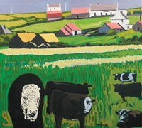 cattle amongst pink roofs by david mcdonagh