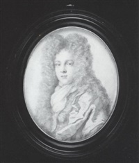 charles, 2nd earl of berkeley wearing full-bottomed wig, cloak over figured doublet and jabot by thomas forster