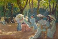 élégantes dans un parc parisien by emile hoeterickx