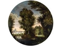 baumlandschaft mit flusslauf, einem hirten mit schafherde auf der waldlichtung sowie einem mann im kahn by willem van den bundel