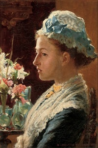 portrait of a lady in blue dress with lace collar and cap (+ portrait of a gentleman; pair) by samuel melton fisher