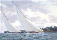 velsheda & endeavour off norris castle, solent; velsheda & endeavour off the royal yacht squadron, solent (pair) by stephen j. renard