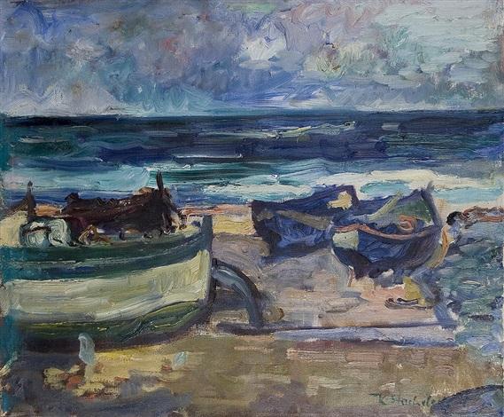 boats on the seashore by karl stachelscheid
