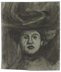 porträt einer dame (+ frauenkopf, sketch, verso) by ernst ludwig kirchner