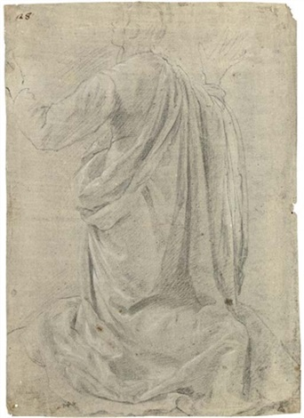 a kneeling figure seen from behind his arms raised by jacopo da empoli chimenti