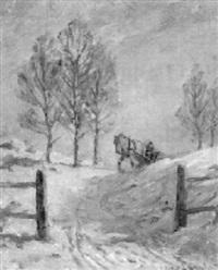 soligt snölandskap med timmerkörare by alexander langlet