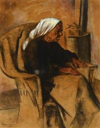 elder woman, taos; seated indian man, taos by kenneth miller adams