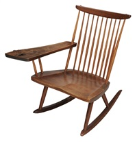 free-edge writing-arm rocking chair by george nakashima