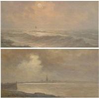 coucher de soleil sur la mer du nord (+ lever de soleil sur la mer du nord; 2 works) by albert isidore de vos