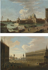 venice, a view of the piazzetta towards san giorgio maggiore and venice, a view of the salute with the punta di dogana (pair) by francesco guardi