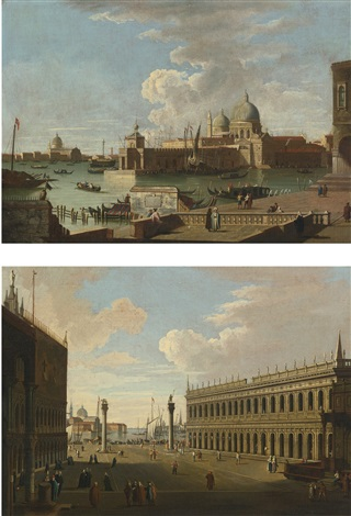 venice a view of the piazzetta towards san giorgio maggiore and venice a view of the salute with the punta di dogana pair by francesco guardi