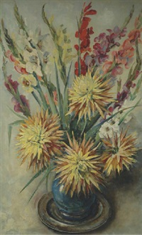 a still life with gladiolas and chrysanthemums by dirk kruizinga