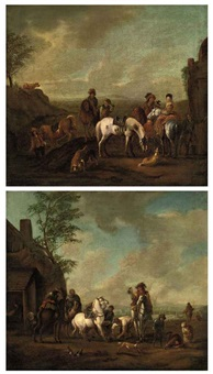 a hunting party stopping at a blacksmith's (+ a hunting party stopping at a stream; pair) by carel van falens