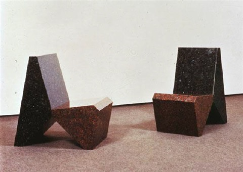two granite chairs by scott burton