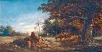 halte de cavaliers sous les ombrages by lieutenant long