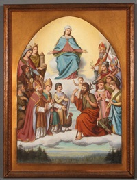 the virgin in heaven above a gathering of saints, including st. george, st. margaret, st. stephen, st. lawrence, st. blaise, st. hubert, st. catherine of alexandria, st. barbara, st. christopher and others by auguste hess