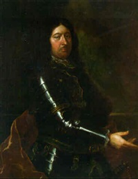 portrait of a nobleman, three-quarter-length, in armour and a red mantle by joseph vivien