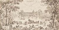vue de la cour des fontaines du château de fontainbleau depuis le grand bassin, une galère miniature au premier plan by adam perelle