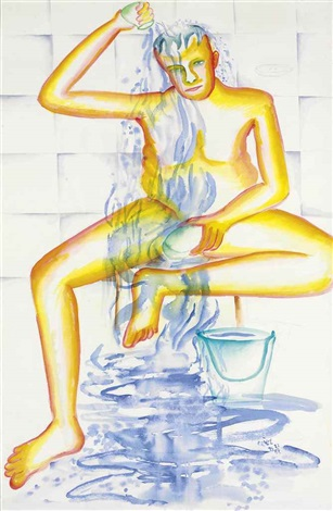untitled man bathing by bhupen khakhar