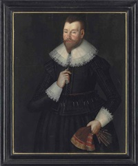 portrait of a gentleman, three-quarter-length, in a brown doublet and hose with a lace collar and cuffs, holding gloves in his left hand by anglo-dutch school (17)