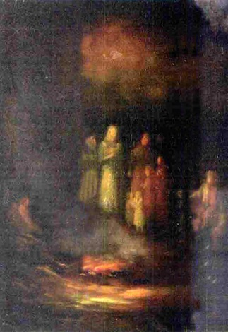 landscape with figures at a fire by j nicole hood