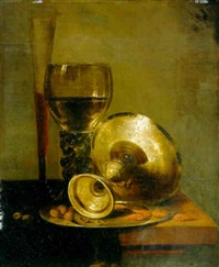 a roemer, tall wineglass, an overturned silver tazza, on a draped table by jacobus van der hagen