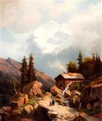 zwitsers berglandschap met jungfrau; op de voorgrond een watermolen by johann wilhelm lindlar
