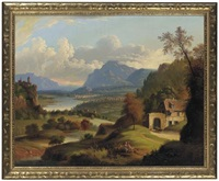 a scenic lanscape overmantel painting by michele felice cornè