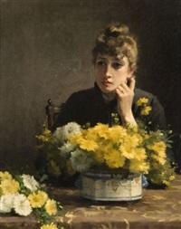 autoportrait de l'artiste, pensive devant un bouquet de fleurs by fanny laurent fleury