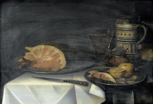 stillleben mit schinken grapefruit und kelchglas by alexander adriaenssen