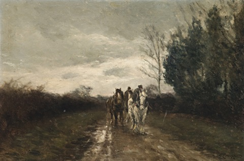 horses in a country lane by george leon little