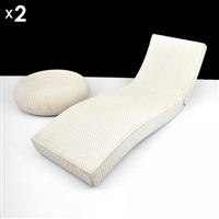 wave adjustable lounge chairs and tables (pair) (4 works) by paola lenti